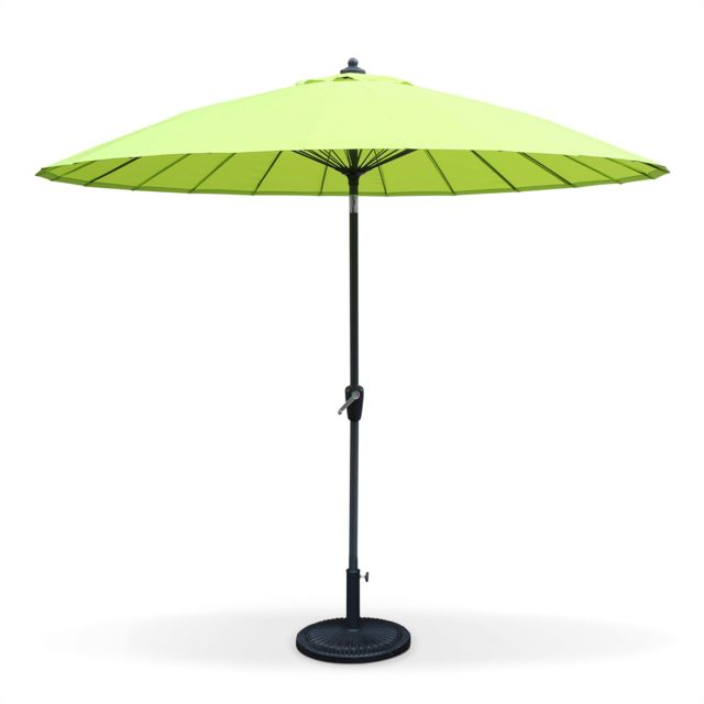alice 39 s garden parasol shanghai rond 260cm vert pomme m t central aluminium orientable. Black Bedroom Furniture Sets. Home Design Ideas