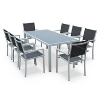 Capua 180cm Blanc / Gris - Salon de jardin aluminium table 180cm, 8 fauteuils en textilène gris et alu Blanc