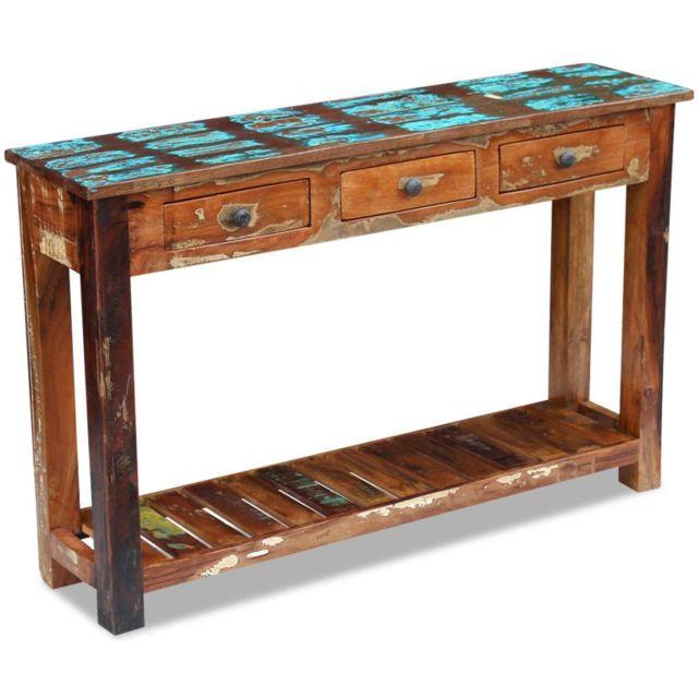 Vidaxl Table console Table de présentation Bois de récupération massif