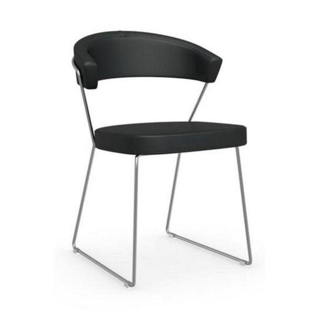 Inside 75 Chaise New York design italienne en cuir noir