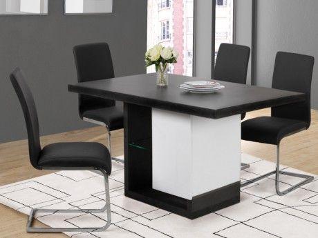 Marque generique table manger ewen avec leds 6 couverts mdf laqu gris b ton blanc for Carrefour table a manger