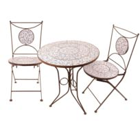 Table jardin fer forge mosaique achat table jardin fer - Table et chaise en fer forge pas cher ...
