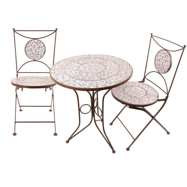 ESSCHERT DESIGN Table et chaises jardin fer forgé