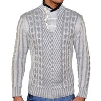 Stef Wear - Pull Col Fourré 3 Boutons - Homme - Stef Pull402 - Blanc Cassé