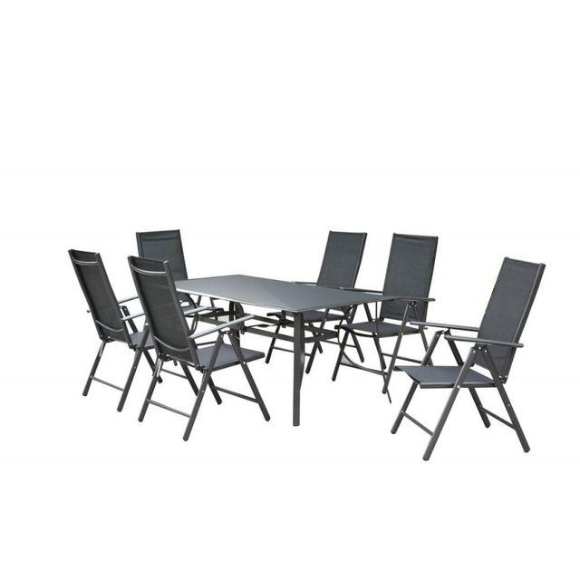 Ma Maison Mes Tendances - Ensemble Table de jardin en Aluminium Gris ...