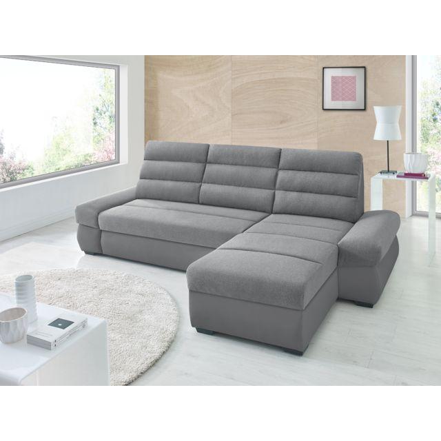 Sofa Story Canapé d'angle convertible Bimbo Gris anthracite / Gris