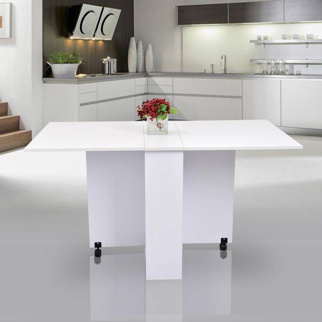 HOMCOM Table de cuisine salle a manger pliable amovible tres pratique en panneaux de particules 21