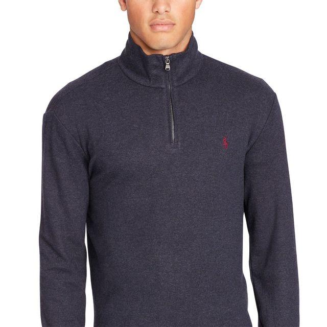 38031fe65d9e Ralph Lauren - Sweat chiné demi zip en bleu. Description  Fiche technique.  Sweat demi zip pour homme de ...