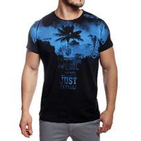 Just Cavalli - T-shirt homme manches courtes noir imprimé bleu