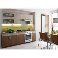Baltic Meubles - Cuisine Agate Noyer clair/foncé 2m40 / 7 meubles