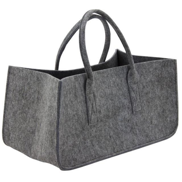 AUBRY GASPARD Sac à bûches gris en feutrine