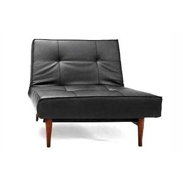 Inside 75 Fauteuil Splitback Styletto noir Leather Look Black convertible design 115 90cm