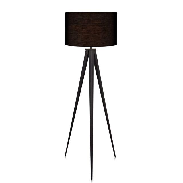 VERSANORA Romanza lampadaire trépied lampe de sol lampe sur pied abat-jour noir