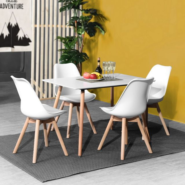 Urban Meuble Ensemble table à manger rectangulaire et 4 chaises Scandinave bois blanc