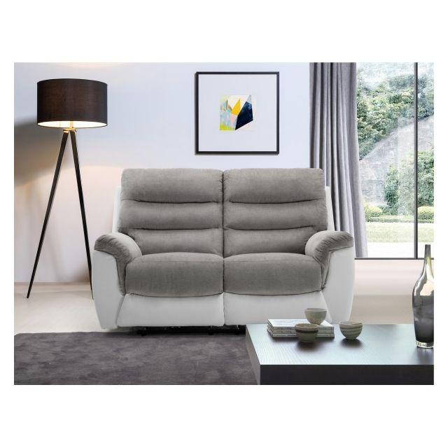 Moloo Canapé 2 places tissu gris et Pu blanc Relax électrique Arona