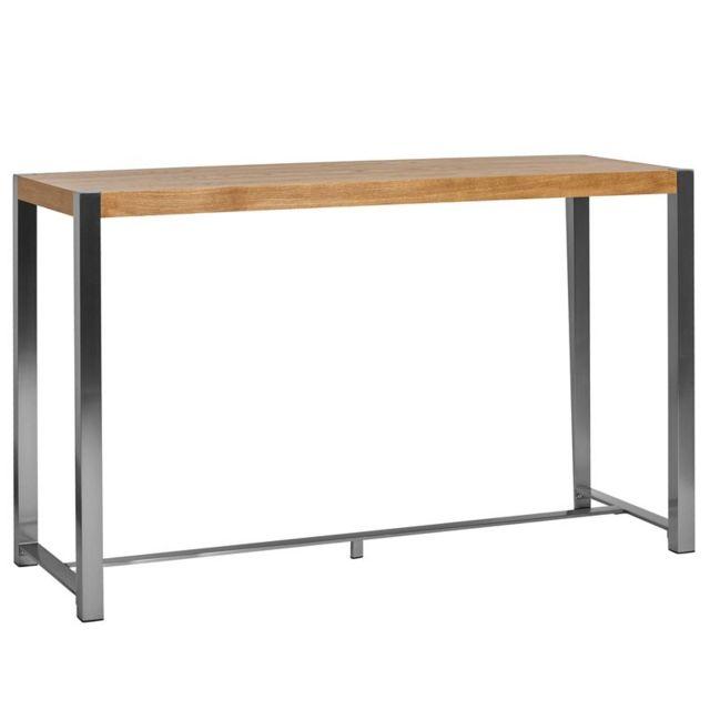 Pieds Pour Table Haute.Table Haute Chene Et Pieds Acier Bonzai
