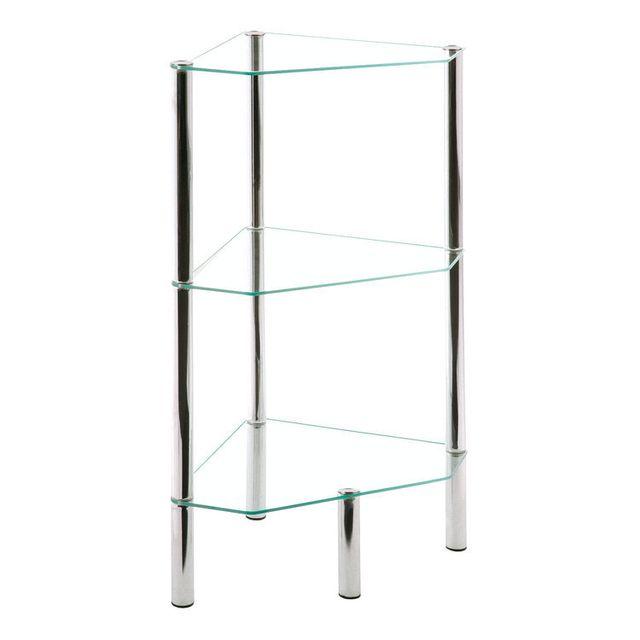 marque generique etag re d 39 angle 3 niveaux acier chrom verre tremp l32xp46xh77cm kiniko. Black Bedroom Furniture Sets. Home Design Ideas