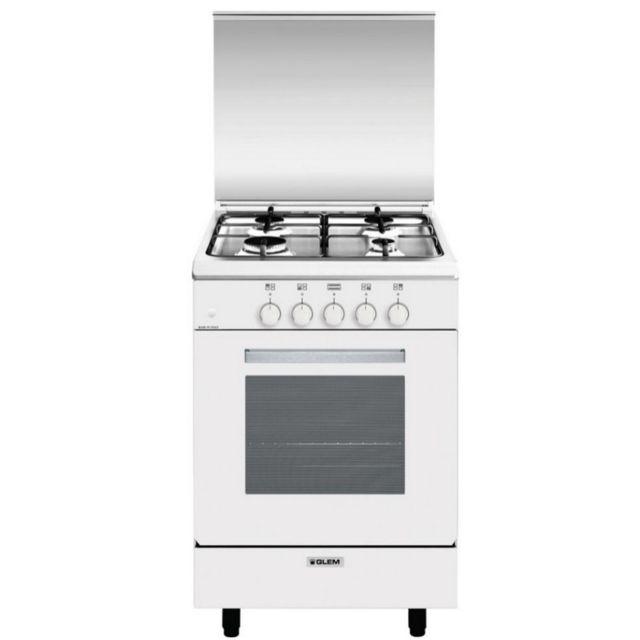 GLEM cuisinière gaz 60l 4 feux blanc - ga551gwh