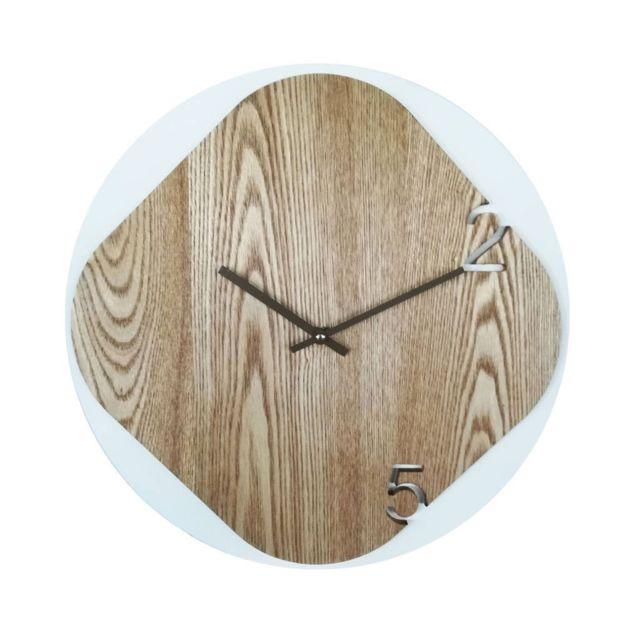 Mobili Rebecca Horloge Murales Horloge de Mur Mdf Style Moderne 40x40x5