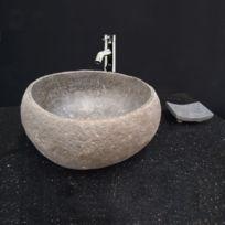 Ocean Line - Vasque de salle de bains à poser, lave-main en pierre de rivière 30 cm - Eden-Roc