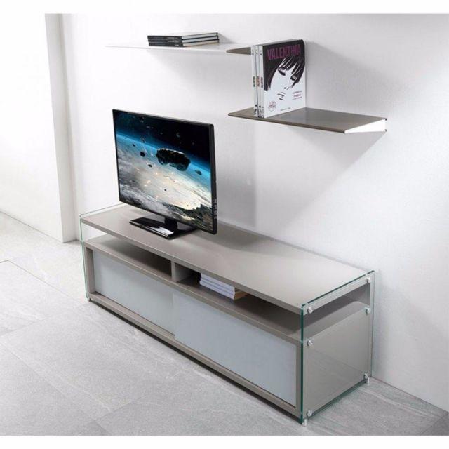 Inside 75 Meuble Tv Talac gris mat 2 portes coulissantes blanc mat