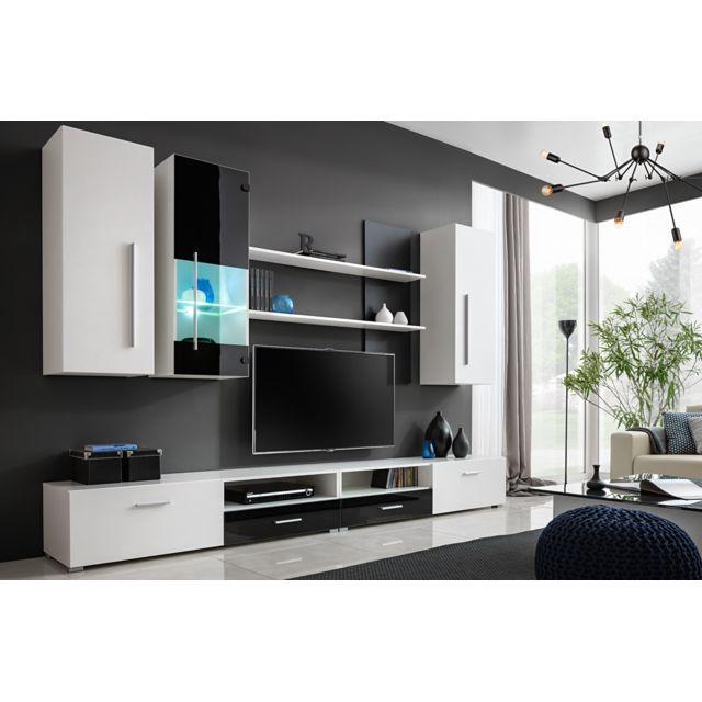 Carellia Ensemble Meuble Tv Design Blanc Noir Pas Cher Achat Vente Meubles Tv Hi Fi Rueducommerce