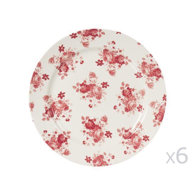 Table Passion - Assiette plate en faïence rouge et blanche Lot de 6 ...