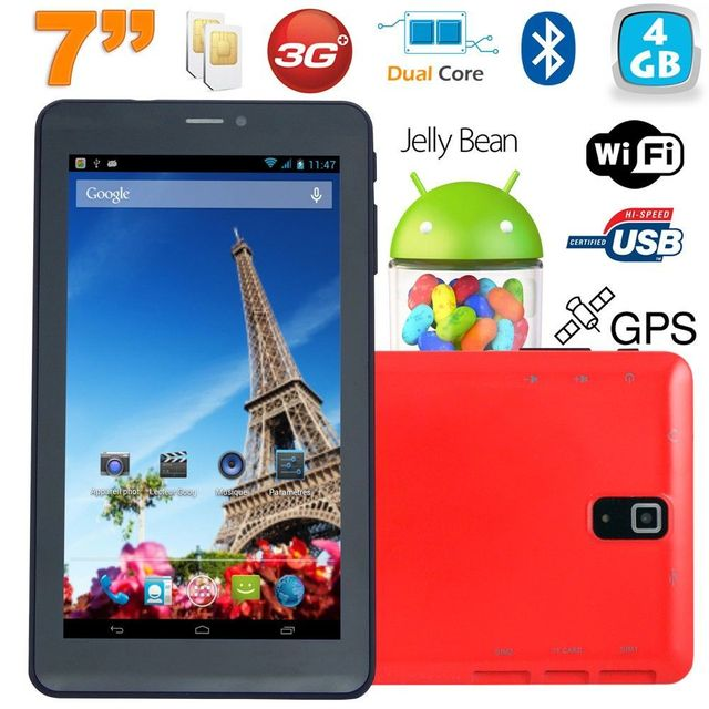 Yonis Tablette tactile 3G 7 pouces Dual Sim Android 4.2 Dual Core Rouge 4Go