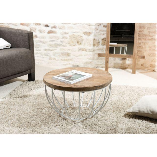 MACABANE Table basse coque blanche 60x60 cm APPOLINE - teck