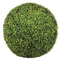 JARDIN ARTIFICIEL - Boule de buis artificielle 45 cm - Vert et Jaune