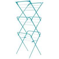 Promobo - Etendoir à Linge Inox Accordeon Meuble Pliable Séchoir Vêtement 10M 3 Etages Bleu