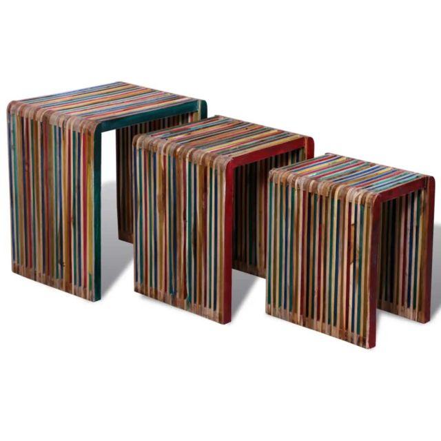 Magnifique Consoles selection New Delhi Table gigogne 3 pcs Teck recyclé coloré