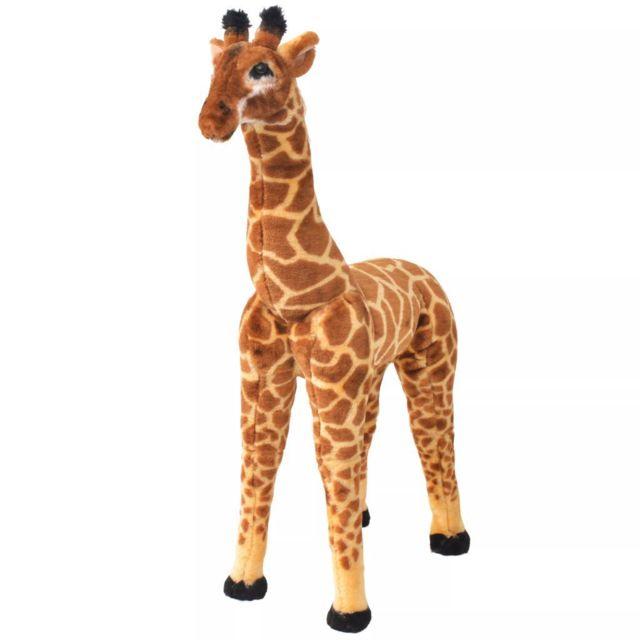 vidaxl jouet en peluche girafe marron et jaune xxl pas cher achat vente peluches. Black Bedroom Furniture Sets. Home Design Ideas