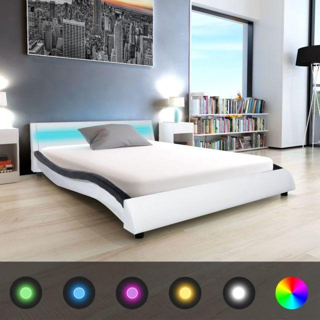 vidaXL Cadre de Lit avec LED Noir Similicuir 140x200 cm Rembourré Adulte