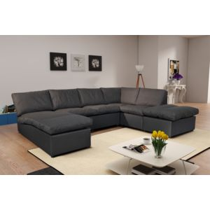 modern sofa canap d 39 angle modulable avanti gris fonc panoramique achat vente canap s tissu. Black Bedroom Furniture Sets. Home Design Ideas