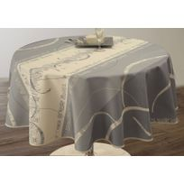 Nappe Anti-Taches Pois Taupe taille Ronde diamètre 160 cm