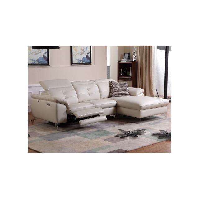 864a1ae3bccc58 MARQUE GENERIQUE - Canapé d angle relax électrique en cuir de buffle  LISMORE - Blanc