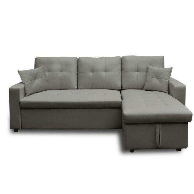 Canapé d'angle droit convertible Gris