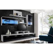 Asm-mdlt - Ensemble meuble Tv Loga noir et blanc de haute brillance avec Led