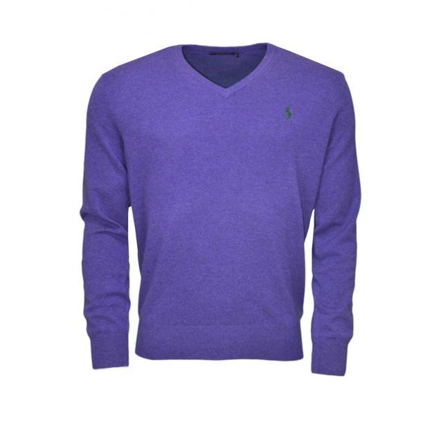 Ralph Lauren - Pull col V en laine violet pour homme - pas cher Achat    Vente Pull homme - RueDuCommerce 484bb3c7a7b0