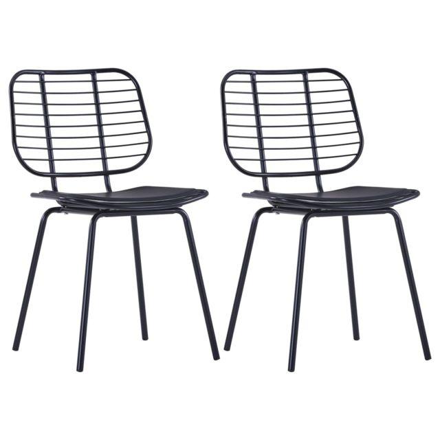 Chaises de salle à manger Siège en similicuir 2 pcs Noir Acier