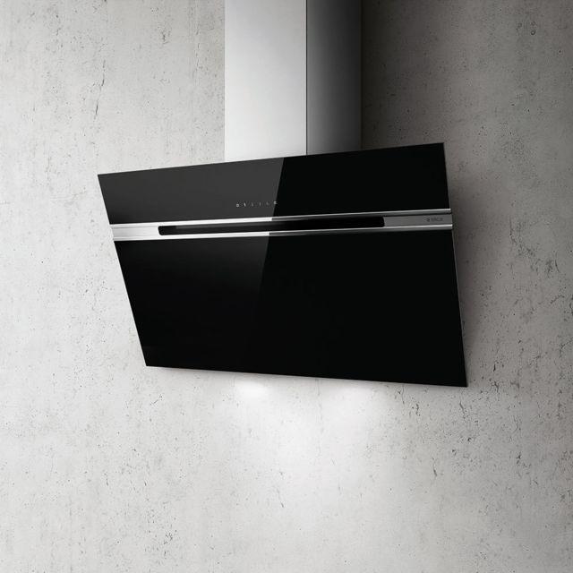 Elica hotte d corative inclin e 90cm 735m3 h noir stripe bl a 90 lx achat hotte d corative - Hotte decorative 90 cm inclinee ...