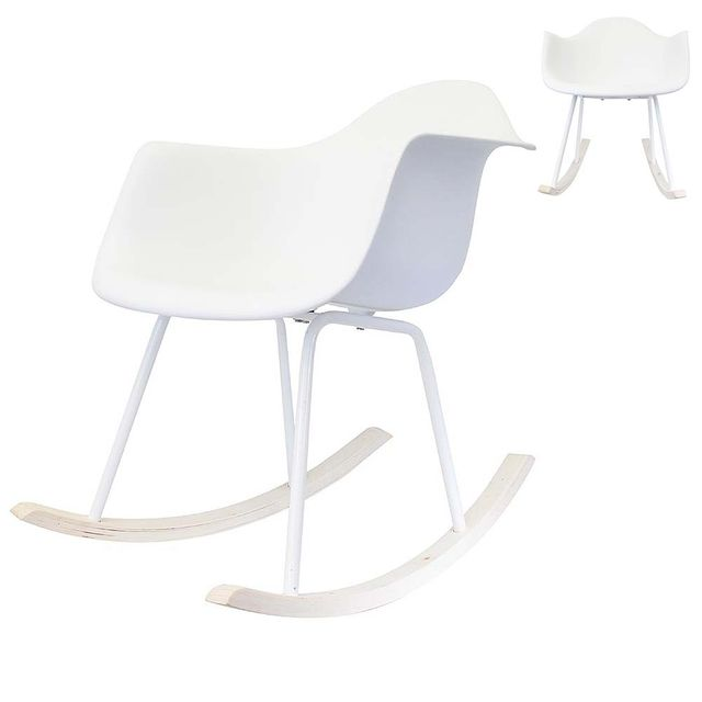 Ego Design - Chaise a bascule Rocking chair Norway blanc lot de 2
