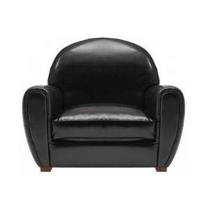 Inside 75 Fauteuil Club noir brillant en cuir recyclé Made In