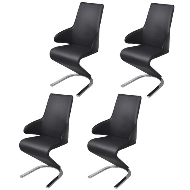 Vidaxl Chaises de salle à manger Cantilever 4 pcs Noir cuir artificiel