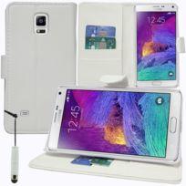 Vcomp - Housse Coque Etui portefeuille Support Video Livre rabat cuir Pu pour Samsung Galaxy Note 4 Sm-n910F/ Note 4 Duos Dual Sim, N9100/ Note 4 CDMA, / N910C N910W8 N910V N910A N910T N910M + mini stylet - Blanc