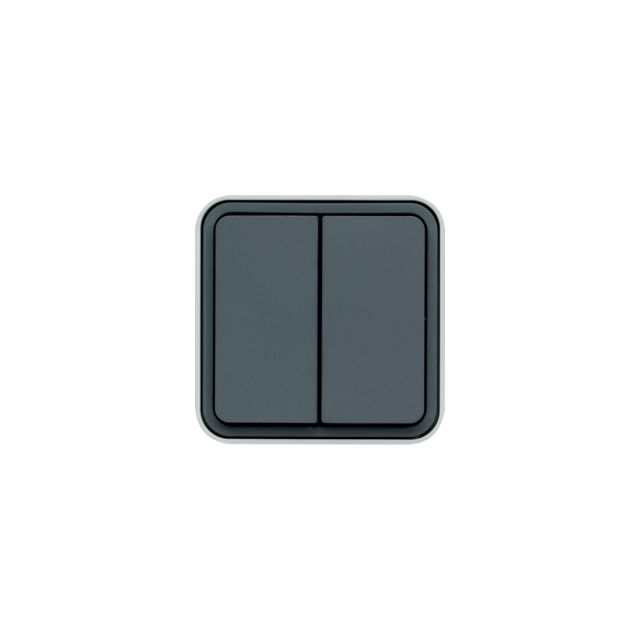 Hager - bouton poussoir double no-nf 10a cubyko saillie complet gris