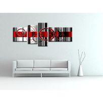 Hexoa - Tableau multi panneaux abstrait Ledi 160x60 cm rouge