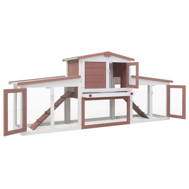 Icaverne Abris et cages pour petits animaux famille Clapier large d'extérieur Marron et blanc 204x45x85 cm Bois