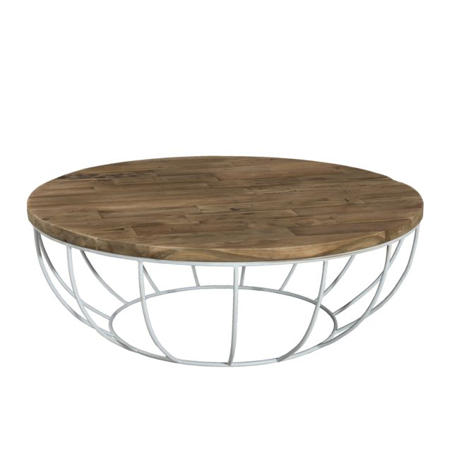 MACABANE Table basse coque blanche 100 x 100 cm